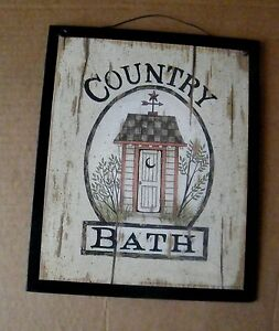 Primitive Country Bath Wood Bathroom Outhouse Wooden Art Decor Wood Sign 9x11