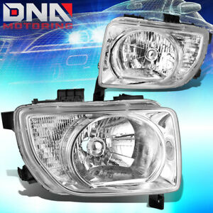 For 03 08 Honda Element Chrome Housing Clear Corner Headlights Lamp Replacement