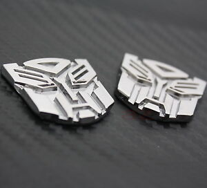 2x Autobot Transformers Metal Car Auto Silver Chrome Decal Emblem Badge Stickers