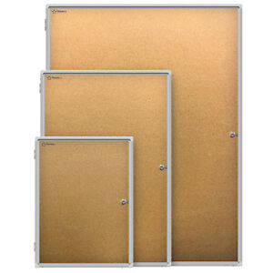 Thornton s Aluminum Wall Mount Enclosed Cork Bulletin Board choice Of Size