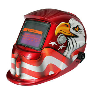 1x Auto Darkening Solar Welding Helmet Mask Uv Ir Filter Shade Red Eagle C