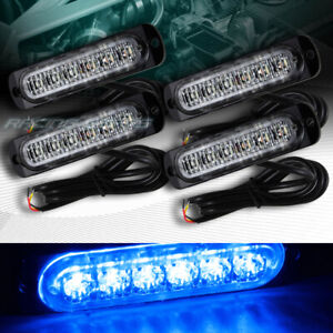 24 Led Blue Car Emergency Beacon Hazard Warning Flash Strobe Light Bar Universal