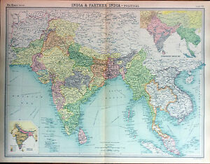 India Farther India Political Map 1922 Times Atlas Of The World Pl 55