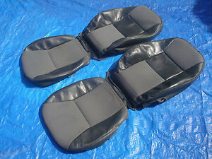 99 03 Saab 9 3 Convertible Charcoal Driver Passenger Sides Leather Seat Covers