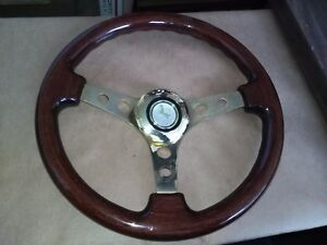 13 Mustang Grant Wood Grain With Gold Center Steering Wheel Horn Button