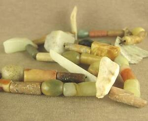 24 Stunning Antique Chinese Neolithic Carved Axe Pendant Jade Beads Necklace