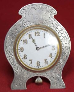 Herbst Wassall Desk Clock W Sterling Silver Frame New York Vintage