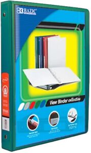 5 Inch Green 3 ring View Binder With 2 pockets Pack Of 12