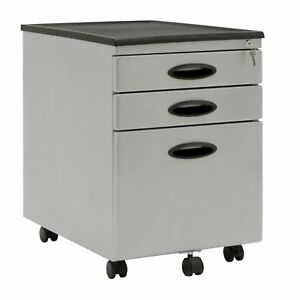 Calico Designs Home Office Furniture Storage 3 Drawer Mobile File Cabinet Gray