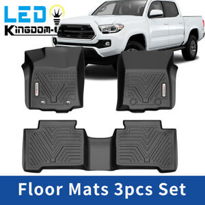 Black Floor Mats For 2016 2017 Toyota Tacoma Double Cab All Weather Protection