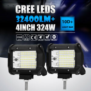 Pair 324w 4 Inch Led Work Light Bar Pod Work Flood Beam Offroad Fog Driving Boat