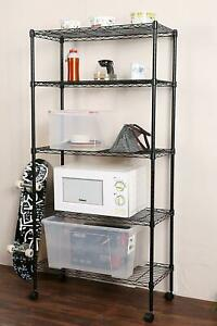 65 5 Tier Layer Adjustable Wire Metal Shelving Shelf Rack Rolling Black chrome