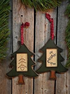 2 Primitive Rustic Country Oh Christmas Feather Tree Stitchery Framed Set Ooak