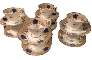 Set 8 Antique Mid 19c English Porcelain Coffee Cup Saucers Blue Maple Leaf