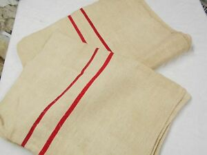 2 Vtg Antique Red Stripe Hemp Linen Pillowcase Pair Feed Sack Grain Bag 58x20