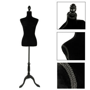 Female Mannequin Torso Clothing Display W Black Tripod Stand Style Foam Black