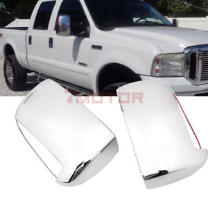 Us Chrome Mirror Cover W turn Signal Hole For 99 07 Ford F250 F350 Superduty 7m