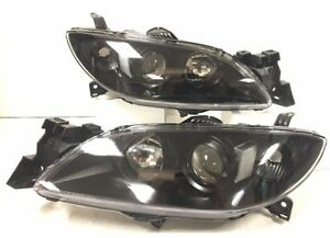 Projector Headlight Lamp Black Housing Clear Reflector Lens For 04 09 Mazda 3