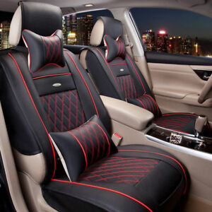 5 Seats Full Set Luxury Pu Leather Car Seat Covers Cushion W Pillows Universal