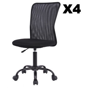 Set Of 4 Mid back Mesh Office Chair Computer Task Swivel Seat Ergonomic Chair