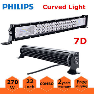 7d Tri Row 32 Inch 405w Curved Led Light Bar Spot Flood Combo Jeep Ford Pk 180w