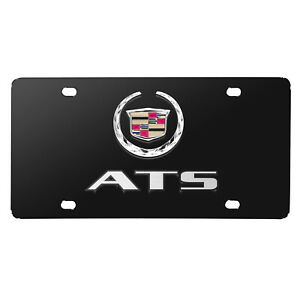 Cadillac Ats Double 3d Logo Black Stainless Steel License Plate