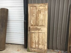 C1830 40 Raised Four Panel Door Old Paint Mortised Pegged 77 5 H X 31 25 W