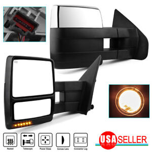 For Left Right 07 14 Ford F150 Power Heated Led Signal Puddle Tow Side Mirrors