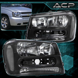 Headlights Black Housing Clear Reflector Lens For 02 09 Chevy Trailblazer