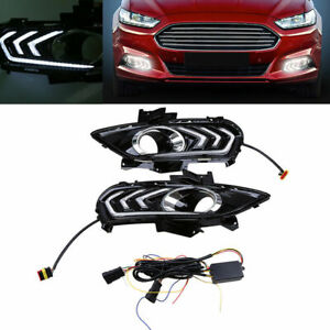 Pair Drl For Ford Fusion Mondeo 2013 14 15 16 Led Daytime Running Light Fog Lamp