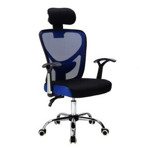Ergonomic Mesh High Back Office Chair With Headrest Navy