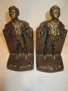 Antique Vintage K O Kronheim Oldenbusch Bronze Bookends Pair School Boy Metal