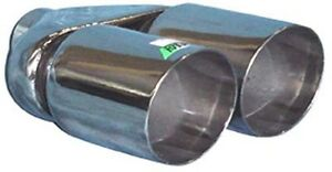 Twin 3 Exhaust Tip Stainless Steel Double Skin Angle Cut 2 25 Inlet A01 039
