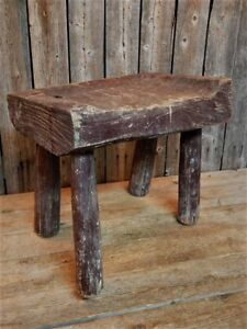 Antique Primitive Wood Milking Stool Red Paint Old New England Farmhouse Aafa