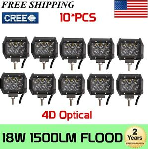 4d 10x 4inch 18w Cree Led Work Light Bar 4wd Offroad Flood Atv Suv Driving Lamp