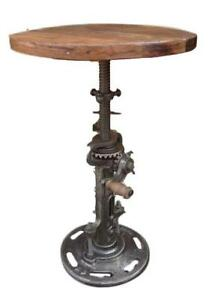 Industrial Style Iron Side Table Moving Gears Adjustable Height Wood Top