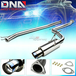 4 Burnt Muffler Tip Stainless Steel Exhaust Catback System For 03 06 Accord L4