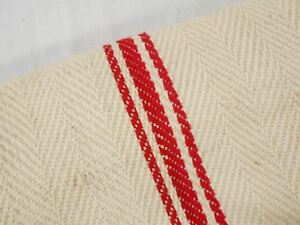 Vtg Antique Red Stripe Soft Linen Fabric Feed Sack Grain Bag 21x51