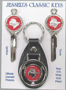 Red W silver Pontiac Indian Chief Deluxe Classic Key Set Nos Keys 1936 1966