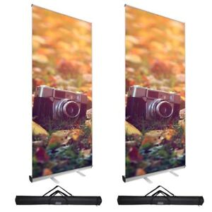 2pcs Economy 39 5 x79 Retractable Roll Up Banner Stand Trade Show Sign Display