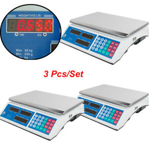 Lot 3 Electronic Counting Digital Computing Food Meat Price Weight Deli Scale