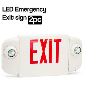 2 Pack Led Red Emergency Exit Sign Twin Light Combo With Battery Back up