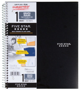 Five Star Spiral Notebook Graph 1 Subject 100 Sheets Assorted Colors Pack Of 6
