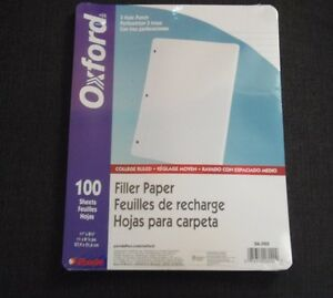 10 Pk Esselte Ampad Oxford 26 020 College Ruled Paper 3 Hole 1000 Sheets Total
