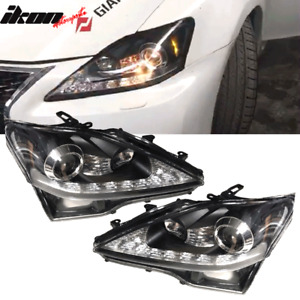 Fits 06 14 Lexus Is250 Is350 Is F Facelift Style Headlights Black Housing