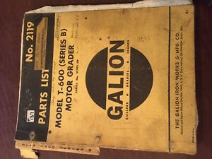 Galion T 600 Motor Grader Series B Tractor Parts Book Catalog