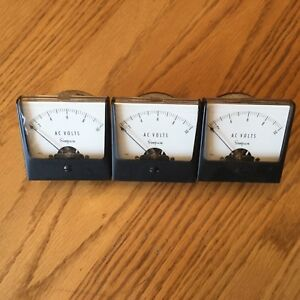 Lot Of 3 Simpson 0 10 Volts Ac Volt Panel Meter Gauge 2 5 Square Model 1257
