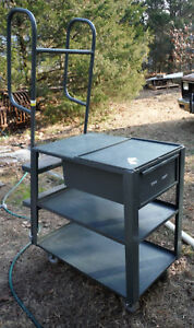 Us Made Stocking Cart W Ladder table drawer For Retail Store Or Parts Warehouse