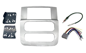 Silver Double Din Radio Stereo Install Bezel Panel Mount Dash Kit Fits Dodge Ram