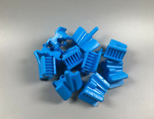 100 Pcs Dental Mouth Prop Bite Blocks Silicone Latex Saliva Ejector Hole Blue